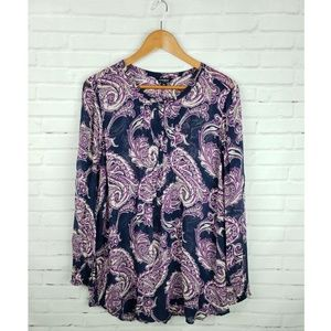Lucky Brand Purple & Navy Floral Paisley Blouse